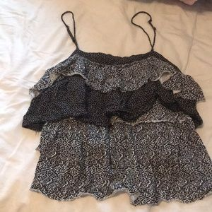 American Eagle Black and White Patterned Camisole